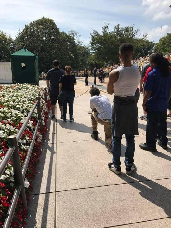 Picture of man kneeling during taps at Tomb of the Unknown Soldier is sparking outrage following NFL protests