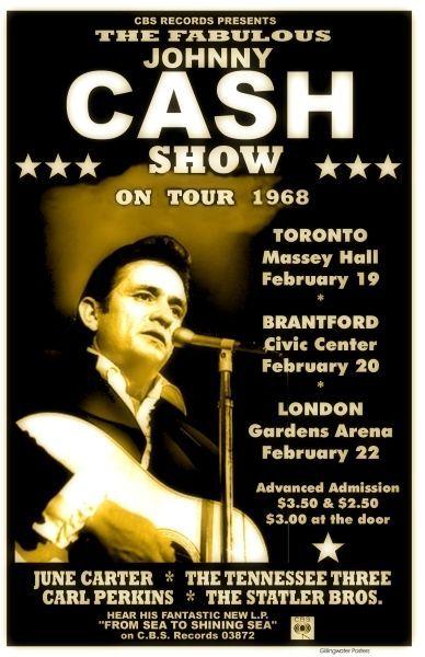 Johnny Cash 1968 box office concert POSTER Toronto Canada marraige proposal