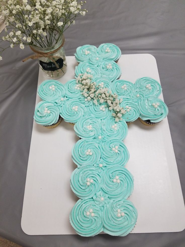 Blue cross cupcake cake baptism, confirmation, communion