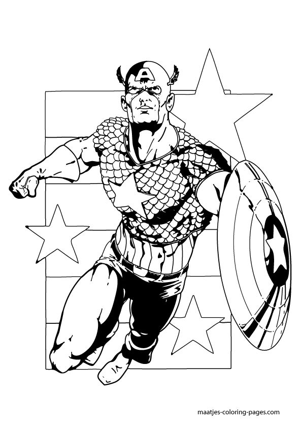 superhero coloring pages captain america - photo#19