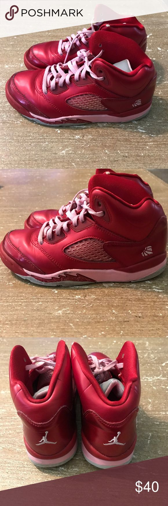 """Air Jordan V Retro GS """" Valentine's Air Jordan V Retro GS """" Valentine's size 3Y, normal wear please look at the pictures. Thanks for stopping by. Air Jordan Shoes Sneakers"""