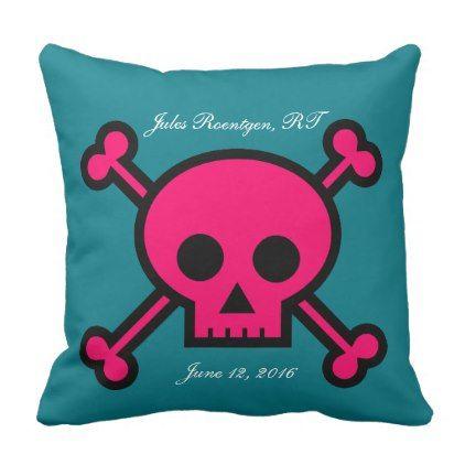 Personalized Pretty Pink Skull Rad Tech Throw Pillow - home decor design art diy cyo custom