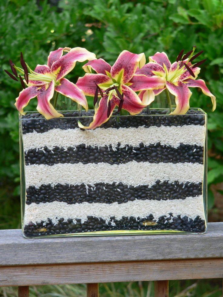 Oriental lilies, dried black beans and rice. Floral arrangement idea