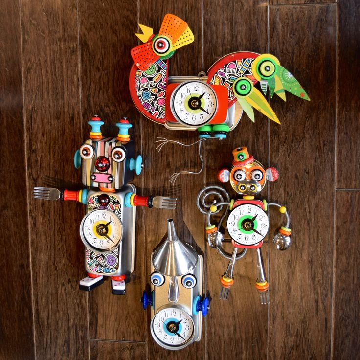 Get some crazy cooky and down right cute Boss Brown clocks here at 16 Hands, in Ann Arbor!   #16Hands #Kerrytown #AnnArbor #Gifts #Art #Shopping #SpecialtyShop #Handcrafted #Handmade #Clocks #Recycle #Recycled #Metal #Rooster #Chicken #Monkey #TinMan #RobotBoy #Robot #Funky #Cooky #Cute #Crazy