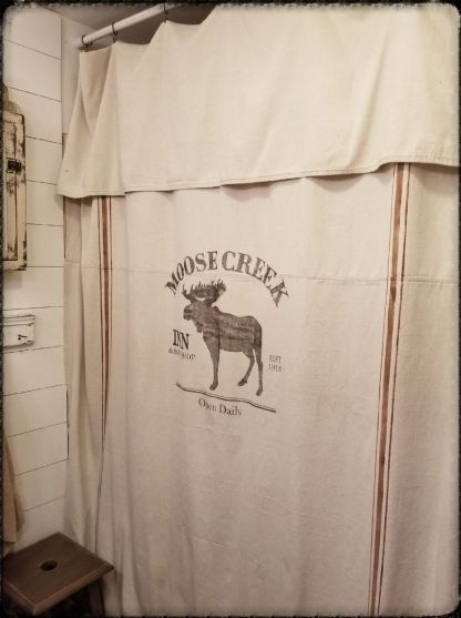 Grain Sack Curtain Farmhouse Shower Drop Cloth Moose Creek Pattern Stripe Color Brown