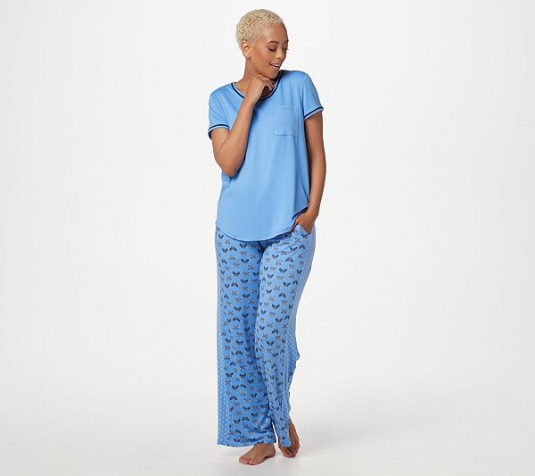 Cuddl Duds Cool Airy Jersey Color Block Print Pajama Set