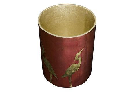 Heron pattern cylindrical wastebasket in Marsala colour. #marsala