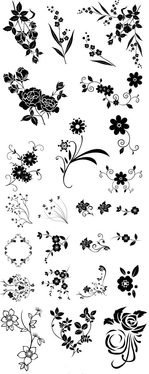 vector graphics | ... vector graphic / Line drawing swirl flower template vector graphic