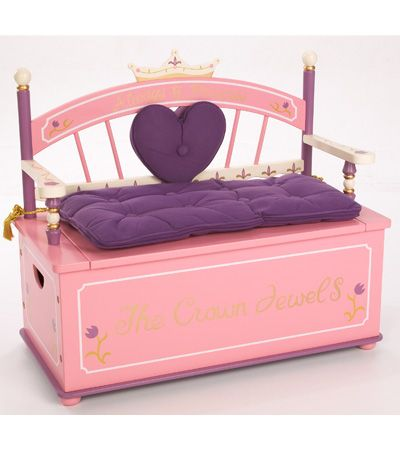 Princess Toy Box Bench Dress Up Storage Girl Room - I want to make the cushion for Lily's toy box