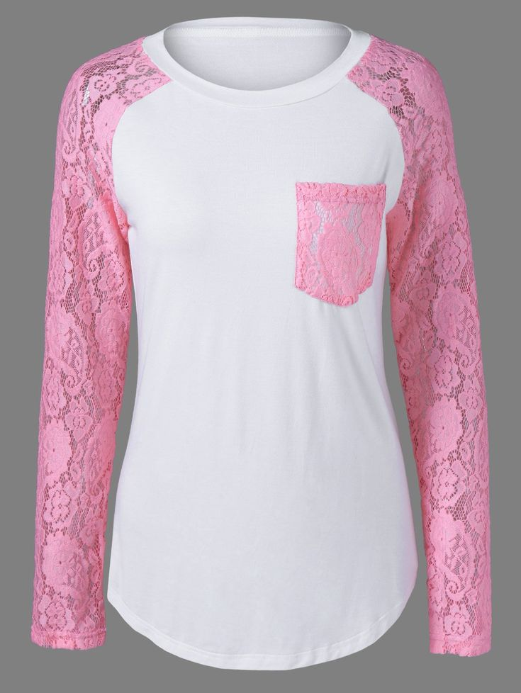 $9.73 Lace Patchwork Curved Hem T-Shirt in Shallow Pink | Sammydress.com