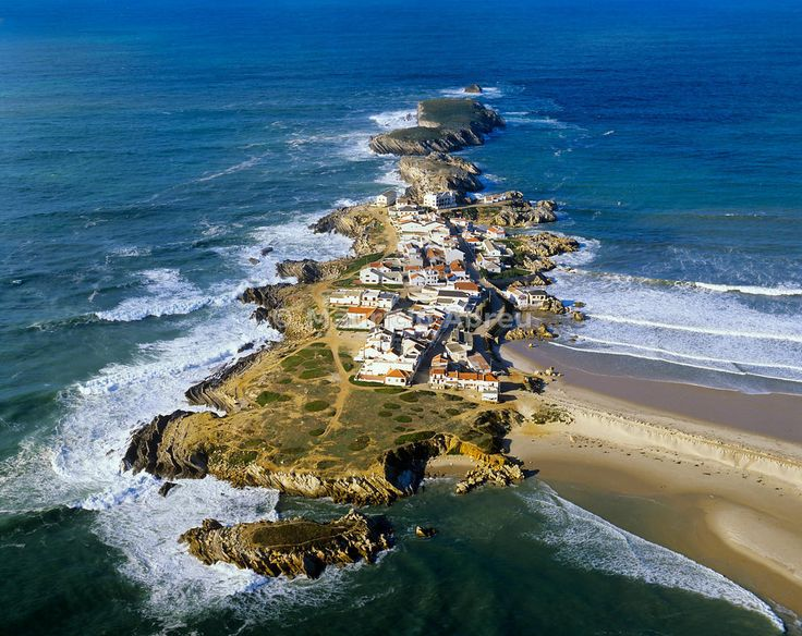Aerial view of the island of Baleal, near Peniche, on the Atlantic coastline of Portugal.