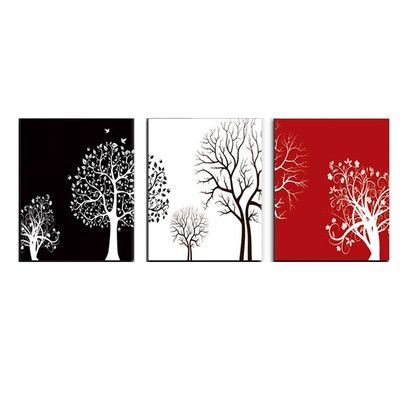 Roundhill Furniture Color Tree Wall 3 Piece Graphic Art on Canvas Set