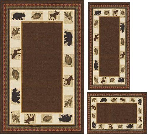 3 Piece Area Rug Set Transitional Modern Floral Oriental Geometric Bear  Moose Carpet (BROWN BEAR