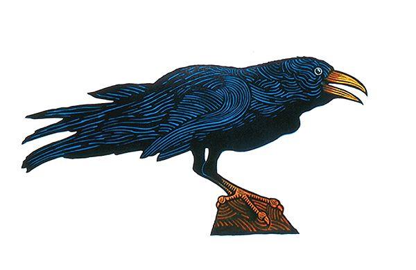 The Raven - Linocut by Hugh Ribbans