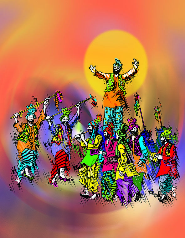 Indian Panjabi Bhangra Dance illustration in Pen and Coloured Inks.