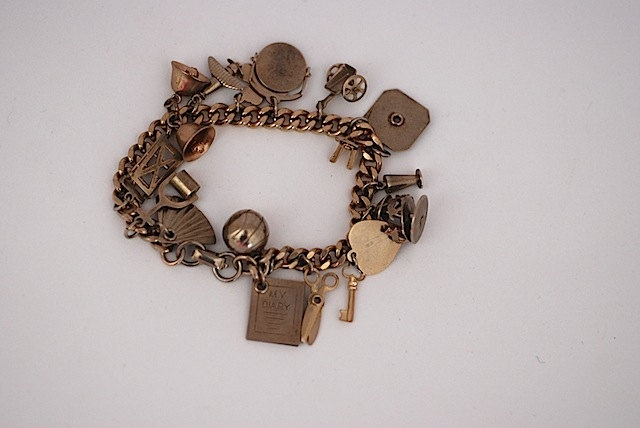 Mid Century Custom Charm Bracelet, Personalized Gift For Daughter, For Girlfriend, Custom Charms, 1950, Metal Braclet. $39.00, via Etsy.