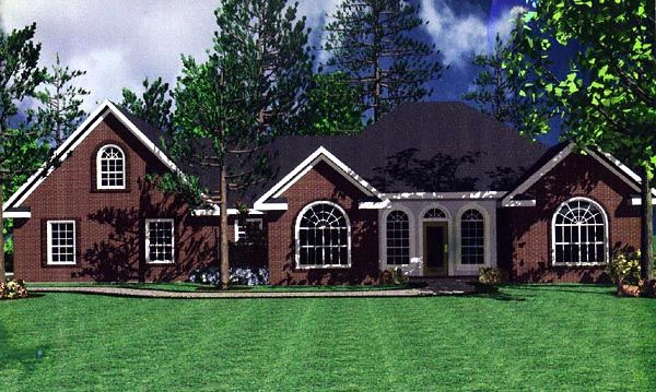 European French Country Ranch Traditional House Plan 59111