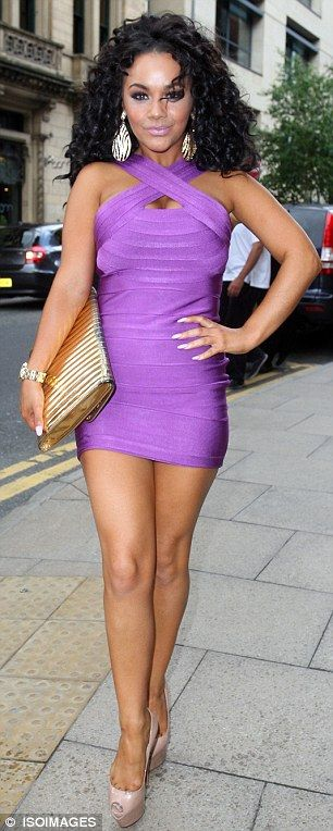 Chelsee Healey showed off her figure in a purple bodycon dress as she arrives at Rosso restaurant in Manchester.