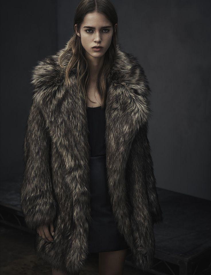 ALLSAINTS WOMEN'S LOOKBOOK NOVEMBER 2015 LOOK 6. The Elya Faux Fur Coat, Ash Tank and Manner Skirt.