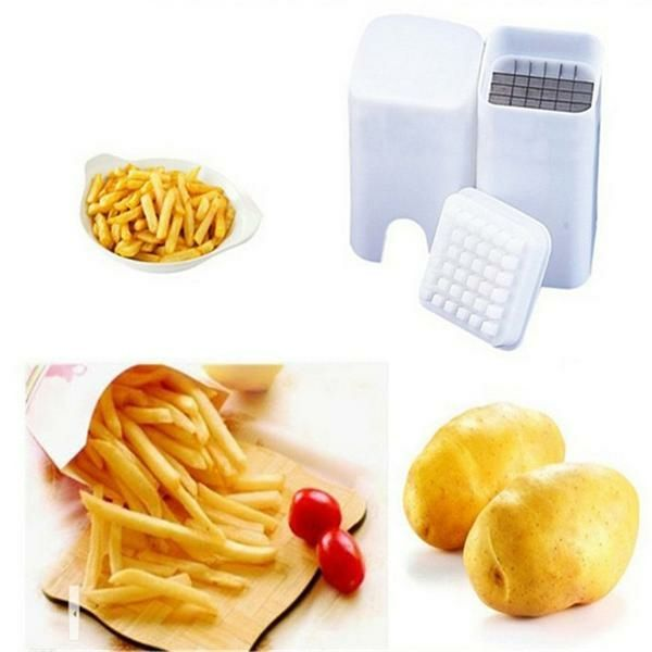 French Fry Potato Cutter - Great for Sweet Potato Fries and Stir Fry  Make french fries to bake or fry in no time at all with this compact potato slicer. Just load and press down while the blades do the rest. Perfectly shaped fries everytime. Make Sweet Potato Fries, Vegetable Tempura, Stir Fry and any other recipe that needs perfectly thick cut vegetables. Turn your favorite fresh vegetables into uniform spears for quicker and more even roasting, stir frying, or frying  – Go Go Kitchen…