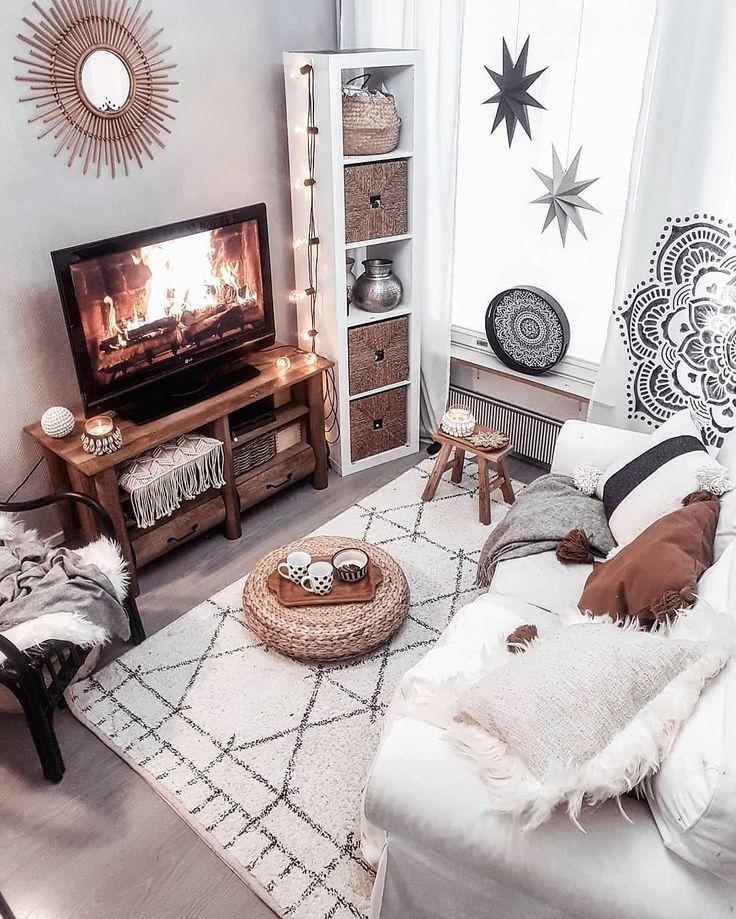 Ich Liebe Diesen Sauberen Weissen Look Die Sterne Im Fenster Vollstandig Grabe Small Living Room Decor Front Room Design Bohemian Living Room Living room boho decor ideas