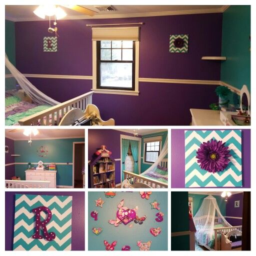 Fairy Tale Purple And Fiji Teal Bedroom Make Over For Our Daughter. Still  Needs