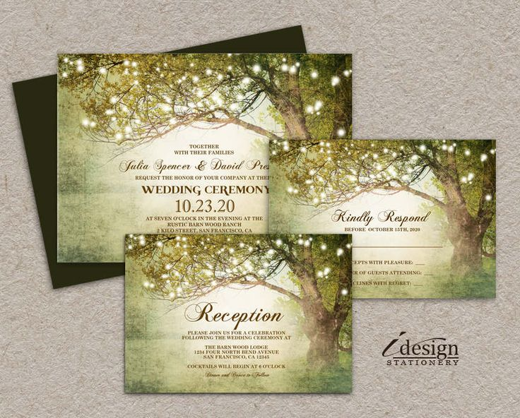 Printable Woodland String Lights Tree Themed Wedding Invitation Set With Rsvp And Reception Card For Rustic Country Backyard Garden Wedding by iDesignStationery on Etsy