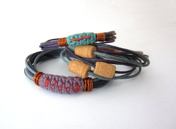 Ethnic tribal boho folk stacking bangles bracelets,cotton bracelets,fiber bracelets