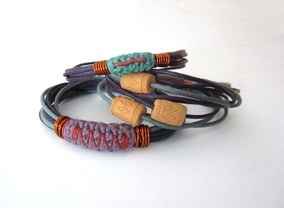 RESERVED for R. - Ethnic tribal boho folk stacking bangles bracelets,cotton bracelets,fiber bracelets