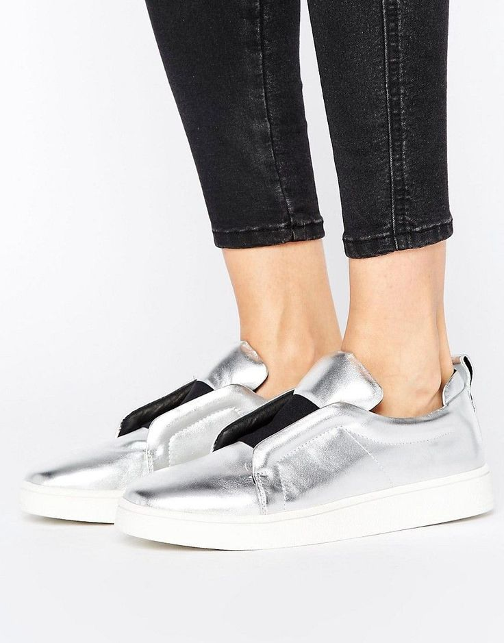 Buy it now. Sol Sana Mickey Slip On Silver Leather Trainers - Silver. Trainers by Sol Sana, Leather upper, Elasticated strap, Shaped padded tongue and cuff, Metallic finish, Chunky sole, Moulded tread, Treat with a leather protector, 100% Real Leather Upper. ABOUT SOL SANA Weaving together creator Sara Caverley�s love of vintage and bold modern styles, Australian-based label Sol Sana was launched in 2010. With comfort and durability at its heart, and a nod to high fashion, expect…