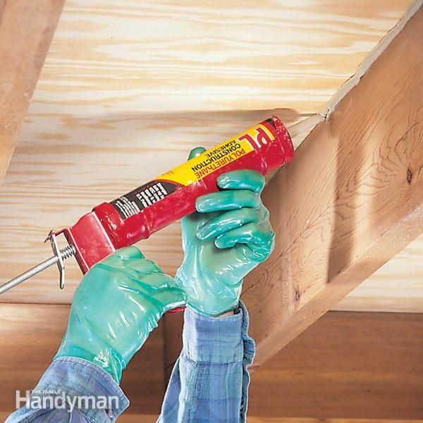 fill the gap and stop the squeak! you can do this fix in minutes, as long as you can get at the floor framing.