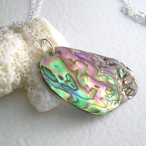 Pink Abalone Pendant Natural Paua Shell Jewelry by cindylouwho2, $24.00