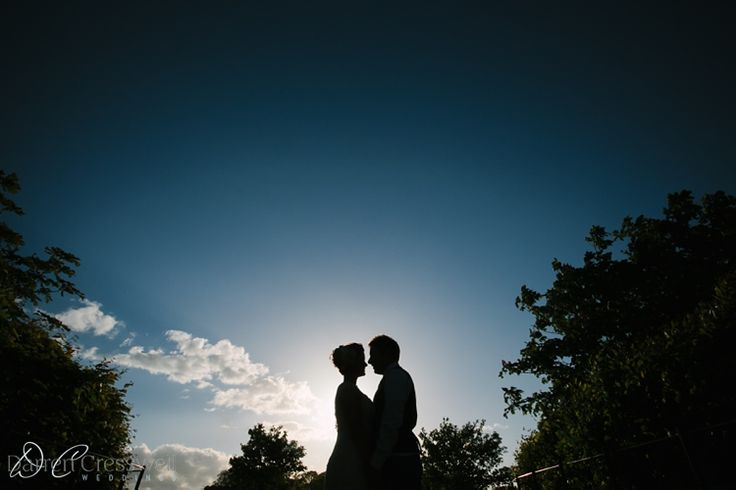 Langley Priory Wedding Photography, Silhouette, sunset