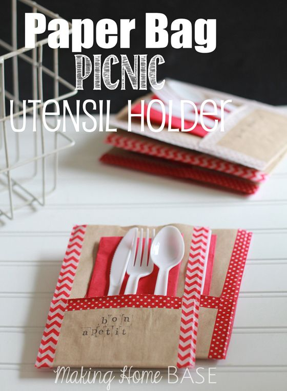 Paper Bag Picnic Utensil Holder - Just in time for picnic season! Use brown paper bags for this simple summer craft project.