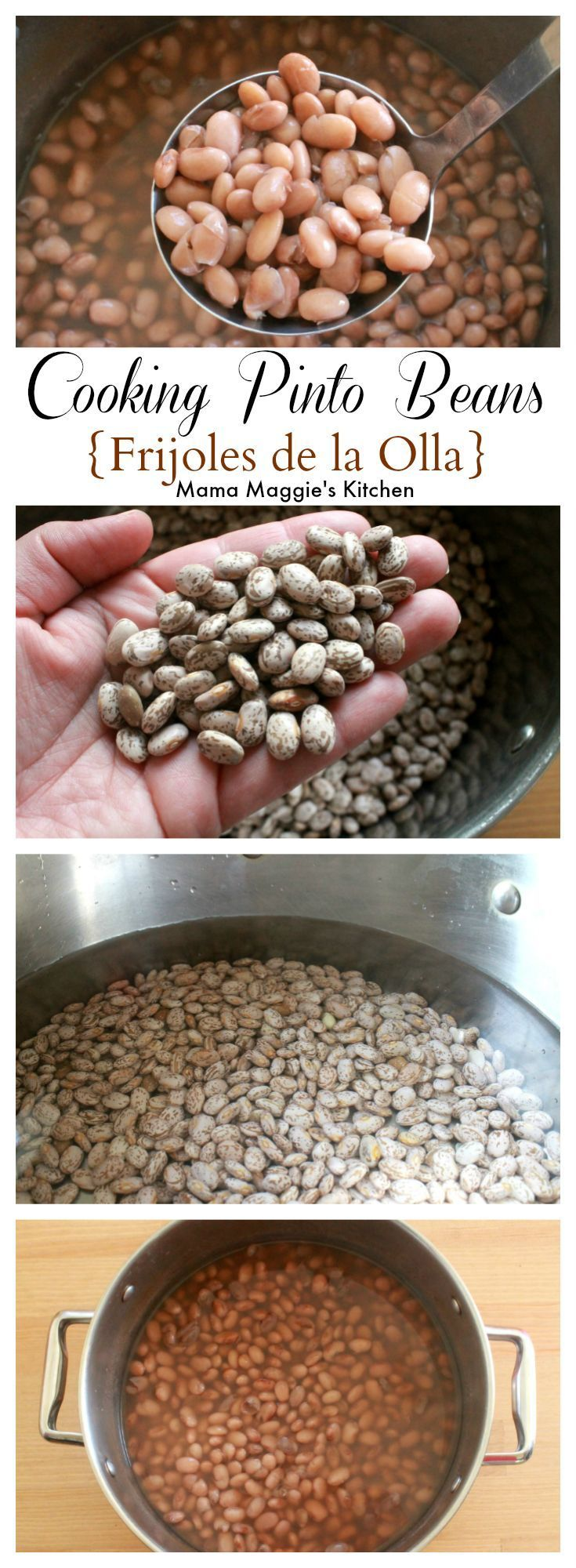 Cooking Pinto Beans, or Frijoles de la Olla, is easy. Only a few ingredients, but it does involve time. You can't rush this magical bean. It's worth the wait for this classic side dish in Mexican cuisine. By Mama Maggie's Kitchen