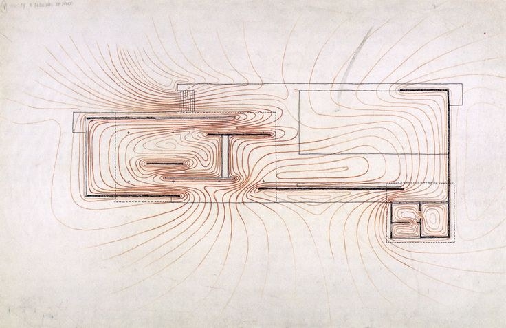 Paul Rudolph, Graphic Analysis of The Barcelona Pavilion by Mies van der Rohe