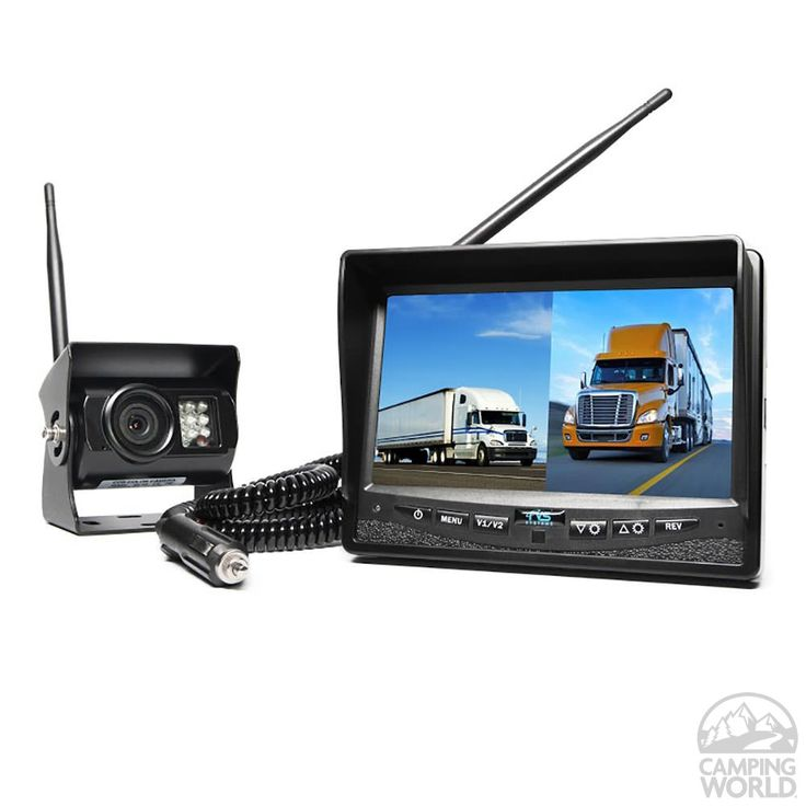 Wireless Backup Camera System - Dual Screen Monitor with Cigarette Lighter Adaptor - Rear View Safety Inc RVS-2CAM - Backup Systems - Camping World