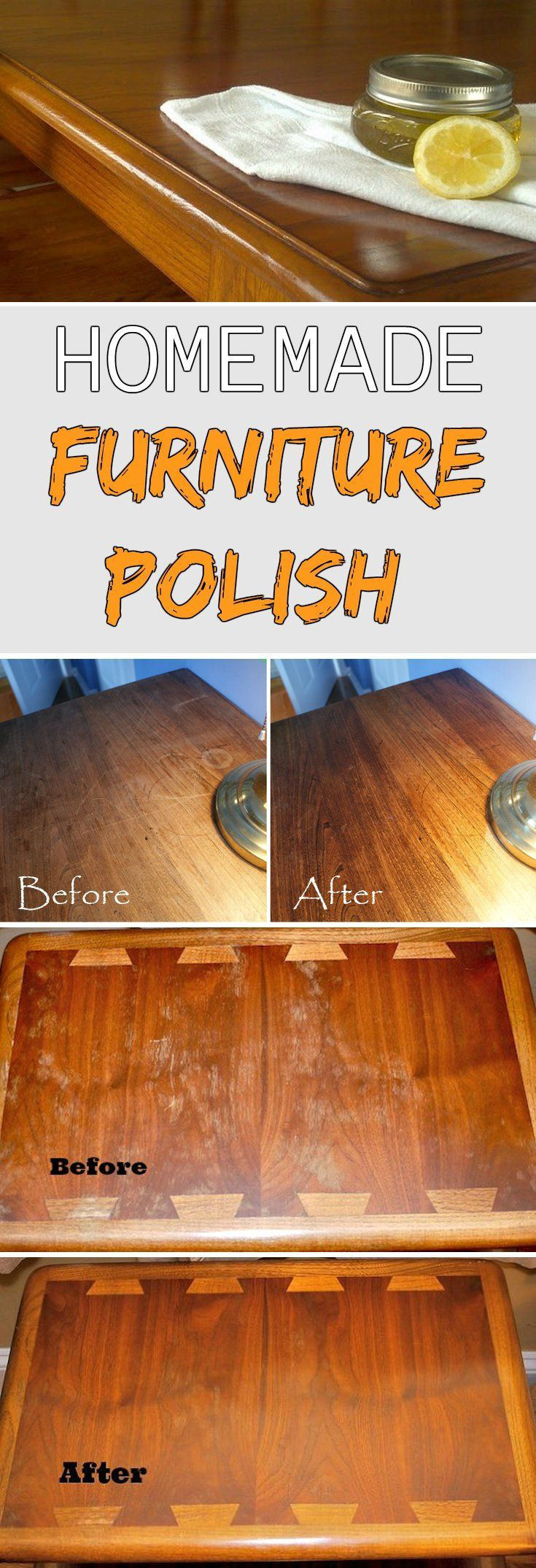 Homemade Furniture Polish. 3/4 cup olive oil, 1/4 cup distilled white vinegar, 1 teaspoon lemon juice