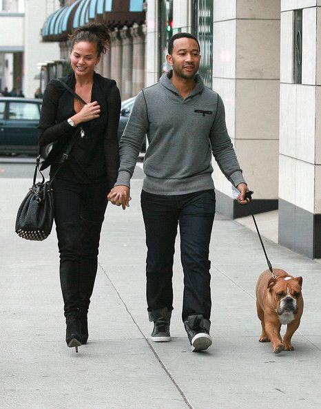 Chrissy Teigen Photos: John Legend And Christine Teigen Walking Their Dog In Beverly Hills