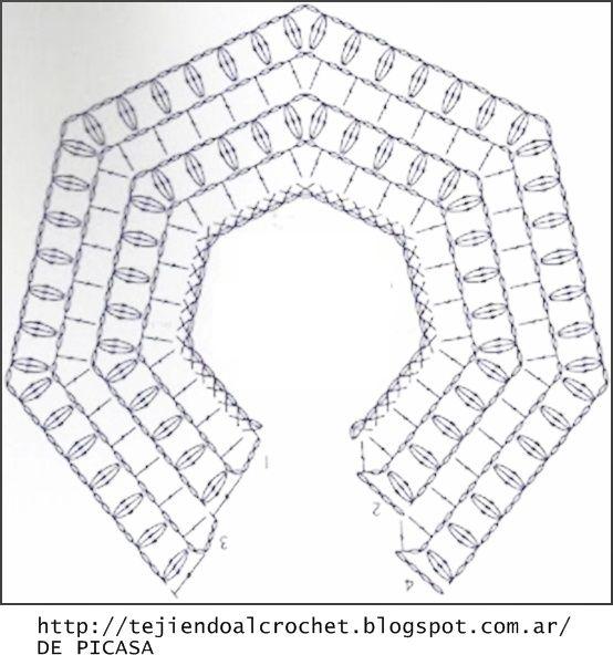 PATRONES=GANCHILLO = CROCHET = GRAFICOS =TRICOT = DOS AGUJAS: PATRONES PARA TEJER A GANCHILLO UN CHAL -PONCHO Y UNA CAPA