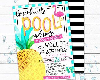 Pool Party Invitation, Pool Party Invite, Tropical Birthday, Pineapple Party, Kid Birthday Invite, First Birthday Invite, Pineapple Invite,