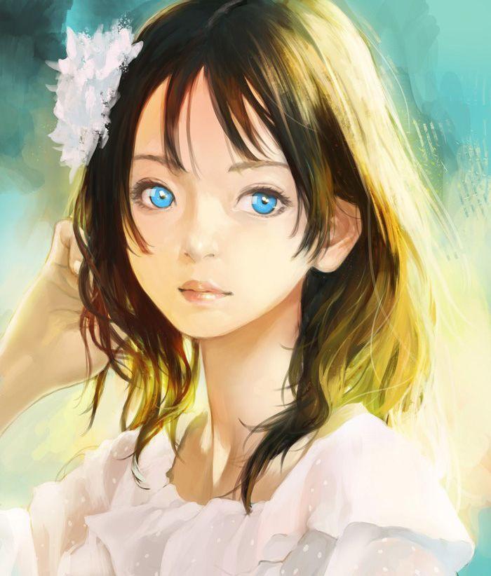 ~blue eyes sunlight girl illustration by Ham Sung-choul