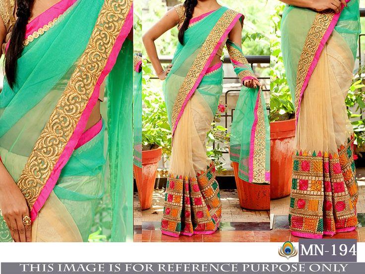 Price @2150.00 INR  Colour : Sea Green, Beige & Multi        Fabric : Saree Georgette & Naylon mono Net Blouse Bangalori Silk With Inner Satin Silk      Work :  Fancy Thread Work