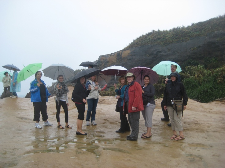 It was a slick walk to get down to the beach area to see the sand dunes in Yehliu Geopark.