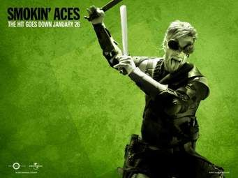 Chris Pine in Smokin' Aces...i never saw the movie but every photo he's in, he looks crazy