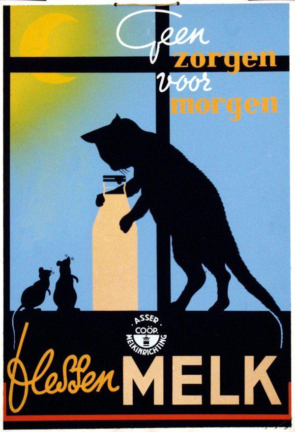 Beautiful 1950 milk advertisement poster, silhouettes of cat and mice.  Auctioned with this information:  Geen zorgen voor morgen flessen Melk cardboard poster 31x45, ca. 1950.  Asser Melkinrichting Co-op, Netherlands.
