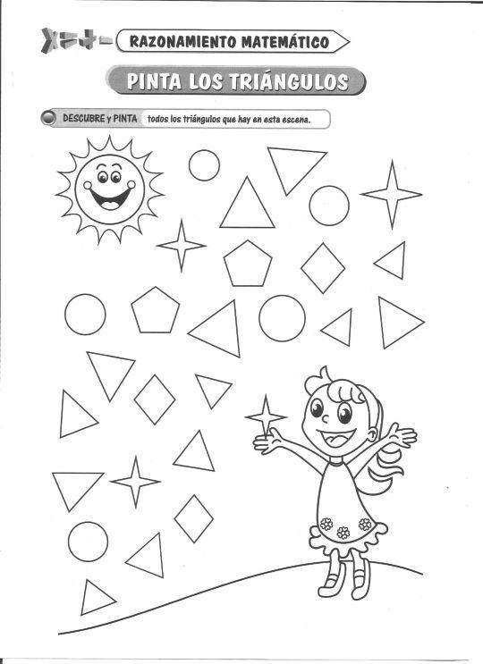 Ficha imprimible de razonamiento matemático. Tema: Pinta los triángulos Actividad a realizar: Descubre y pinta todos los triángulos que hay en esta escena.