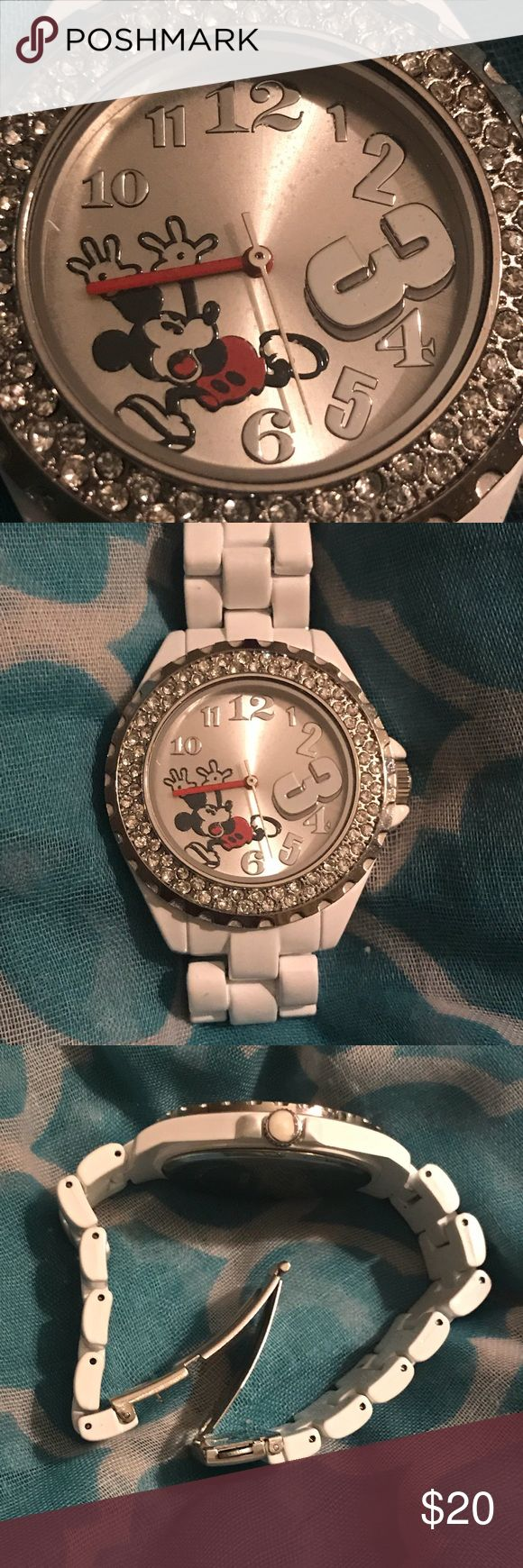 Disney Mickey Mouse Watch-Like New This white boyfriend watch by Disney has Mickey on the front and a sparkling bezel. It has a locking clasp and is w…