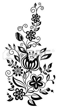 черно-белые цветки и листья.  Цветочные элементом дизайна в стиле ретро Фото со стока