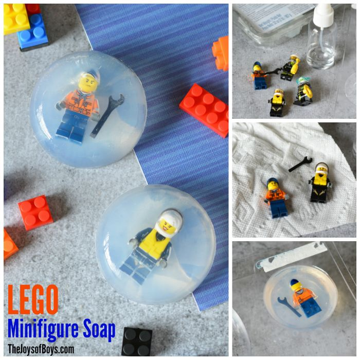 """If your kids need """"encouragement"""" to wash their hands or scrub with soap, make LEGO Minifigure Soap!  So easy to make and kids will love getting clean!"""